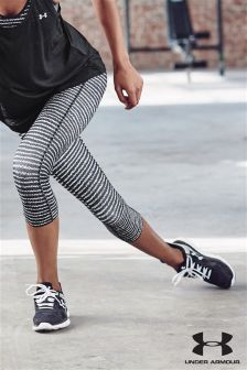 Black & White Under Armour Print Heatgear Capri