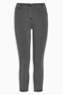 Grey Denim Cropped Leggings