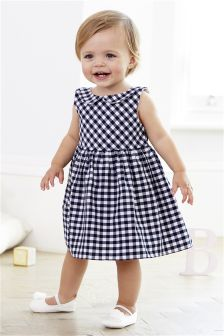 Navy/White Gingham Dress With Knickers (0mths-2yrs)