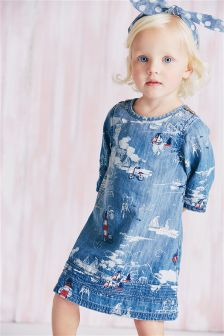 Denim Lighthouse Embroidered Denim Dress (3mths-6yrs)