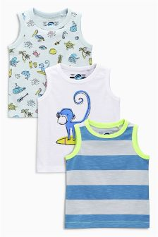 Blue/White Monkey Vests Three Pack (3mths-6yrs)