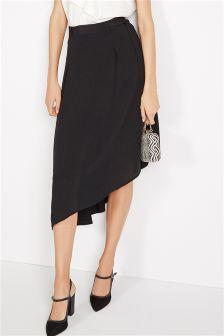 Black Belted Asymmetric Skirt