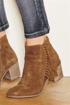 Mink Suede Side Fringe Ankle Boots