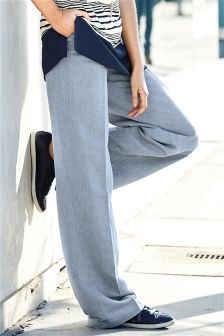Blue Linen Blend Wide Leg Trousers
