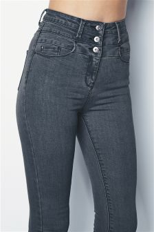 High Waist Button Skinny Jeans