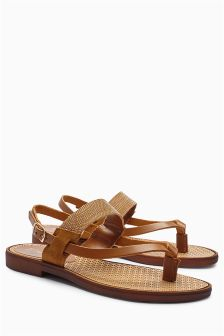 Metal Trim Toe Thong Sandals
