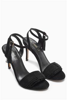 Suede Fringed Sandals