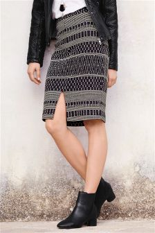 Monochrome Jacquard Pencil Skirt