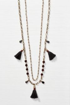 Gold Two Row Tassel Detail Necklace