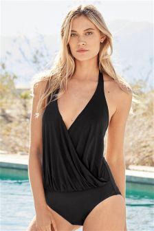 Black Premium Drape High Shine Plunge Swimsuit
