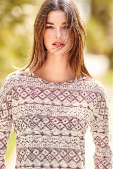 Aztec Knit Look Top