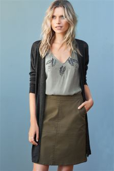 Khaki Coated A-Line Skirt