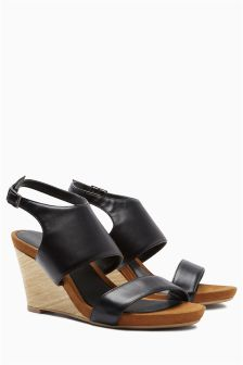 Black Wood Look Wedge Sandals