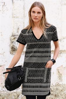 Monochrome Jacquard Shift Dress