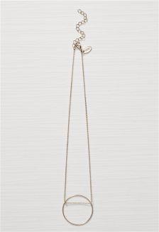 Silver Tone Delicate Circle Necklace