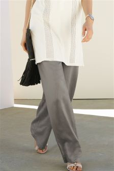 Grey Wide Leg Linen Mix Trousers