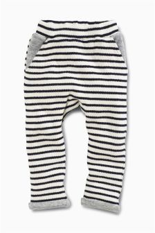 Navy & Cream Stripe Knitted Joggers (0mths-2yrs)