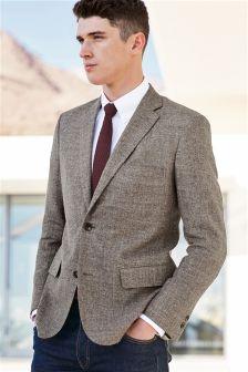 Taupe Italian Linen Tailored Fit Jacket