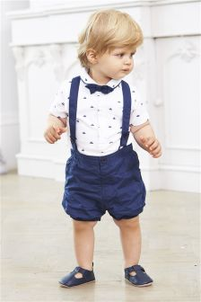 Blue Shorts With Braces Three Piece Set (0mths-2yrs)