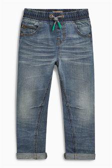 Mid Blue Elastic Waist Pull-On Jeans (3-16yrs)