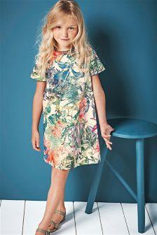 Multi Tropical Print Shift Dress (3-16yrs)