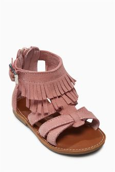 Fringe Leather Sandals (Younger Girls)