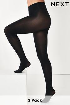 Black 100 Denier Opaque Tights Three Pack