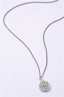 Sterling Silver Diamanté Disc Necklace