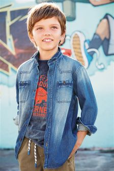 Denim Mid Blue Denim Shirt (3-16yrs)