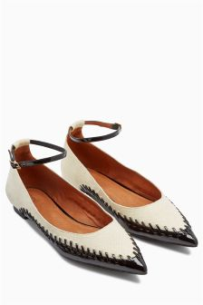 Ankle Strap Stitch Point Shoes