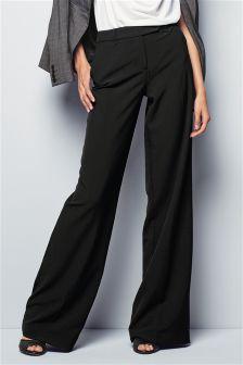 Black Workwear Wide Leg Trousers