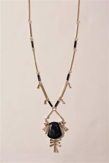 Gold Coloured Long Necklace With Resin Detail