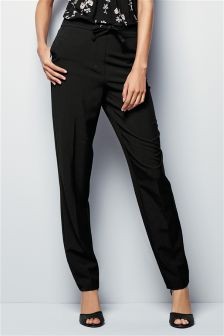 Black Tapered Workwear Trousers