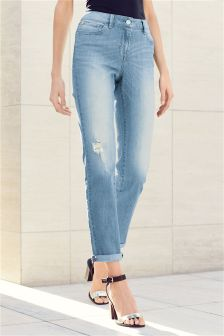 Light Blue Textured Cigarette Jeans