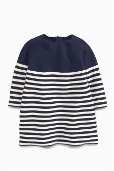 Navy/White Knitted Stripe Dress (0mths-2yrs)