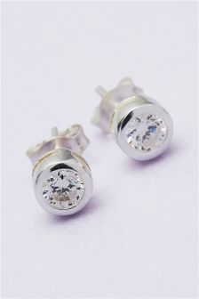 Sterling Silver Crystal Effect Round Stud Earrings