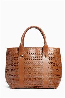 Tan Leather Laser Cut Tote