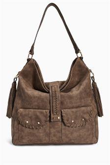 Brown Casual Hobo Shoulder Bag
