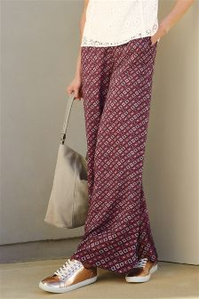 Berry Print Wide Leg Trousers