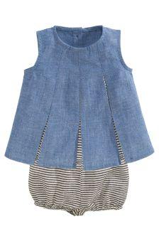 Denim Pleat Dress And Knickers Set (0mths-2yrs)