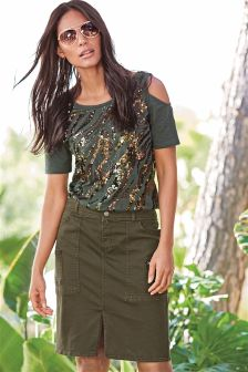Khaki Casual Skirt