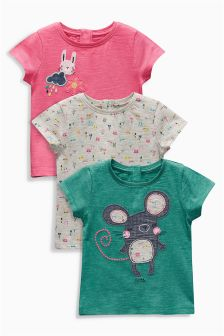 Multi Bright Character Short Sleeve Tops Three Pack (3mths-6yrs)
