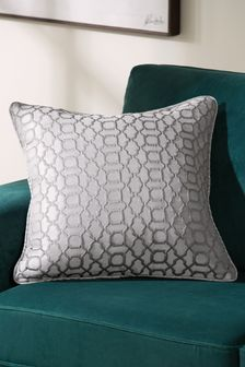 Large Silver Woven Geo Jacquard Cushion