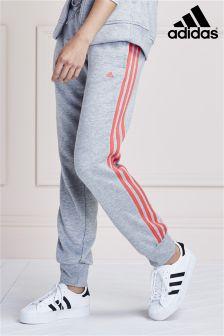 Grey adidas Essential 3 Stripe Jogger