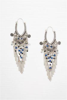 Silver Tone Big Drop Earrings