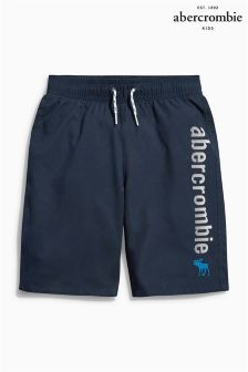 Navy Abercrombie & Fitch Logo Swim Short