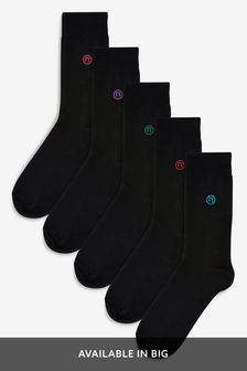 Black Bright Colour N Embroidery Socks Five Pack