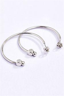Platinum Plated Nugget Hoop Earrings
