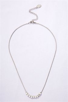Platinum Plated Nugget Detail Necklace