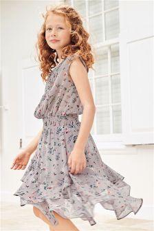 Grey Printed Dippy Dress (3-16yrs)